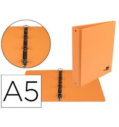 WALLET 4-RING 25 MM ROUND LEADERPAPER A5 CARTON LINED ORANGE PVC