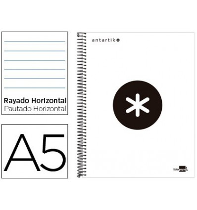 SPIRAL NOTEBOOK LEADERPAPER A5 MICRO ANTARTIK LINED TOP 120H 100 GR HORIZONTAL 5 BANDS 6 DRILLS WHITE COLOR