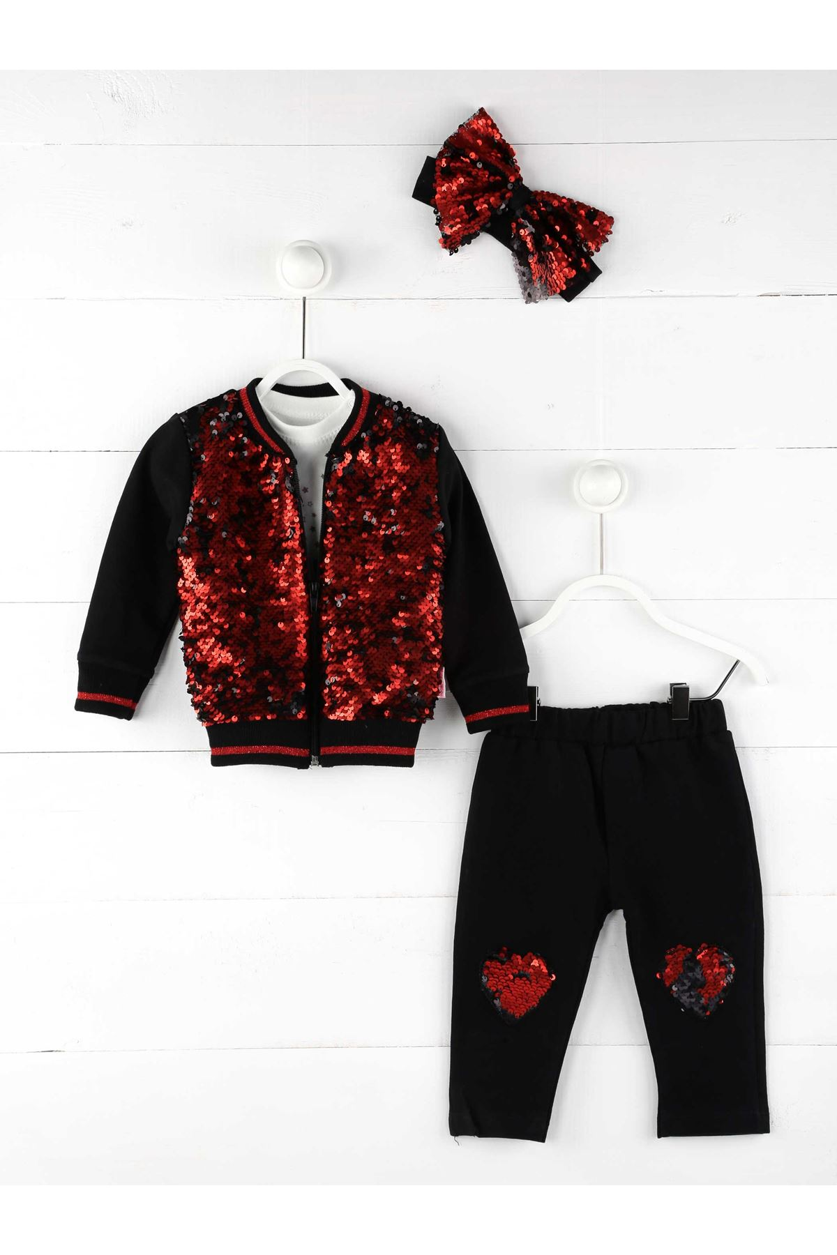 Red Black Girl Baby Tracksuit Set
