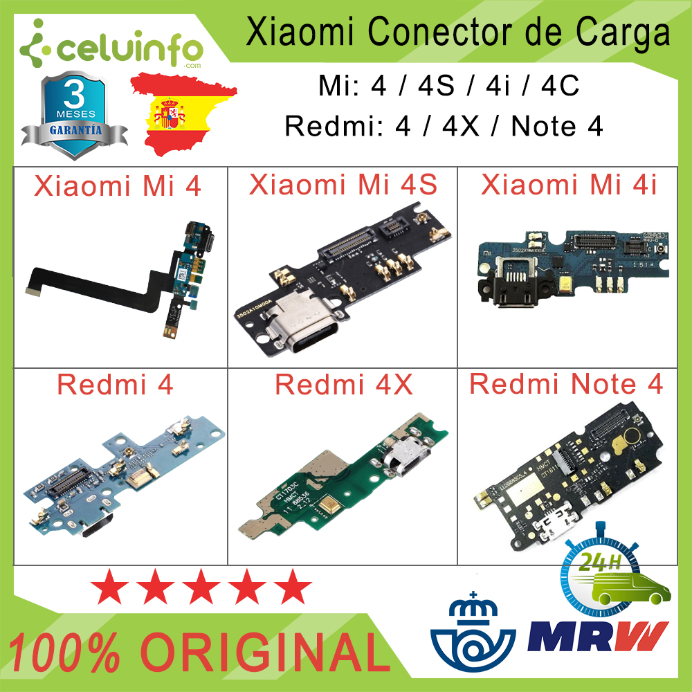 Placa Connector/Flex Original For XiaoMi Mi 4 4S 4i 4C RedMi 4 4X Note 4 Quality AAAAA Recovered Shipping From Spain
