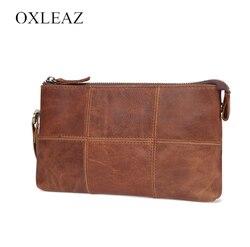 Gli uomini di cuoio DELLA frizione del raccoglitore del sacchetto di cuoio genuino OXLEAZ OX2073