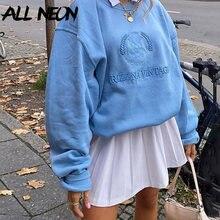 ALLNeon Y2K estetik mektup nakış büyük boy tişörtü Harajuku 90s moda katı Crewneck uzun kollu üst sonbahar kıyafeti