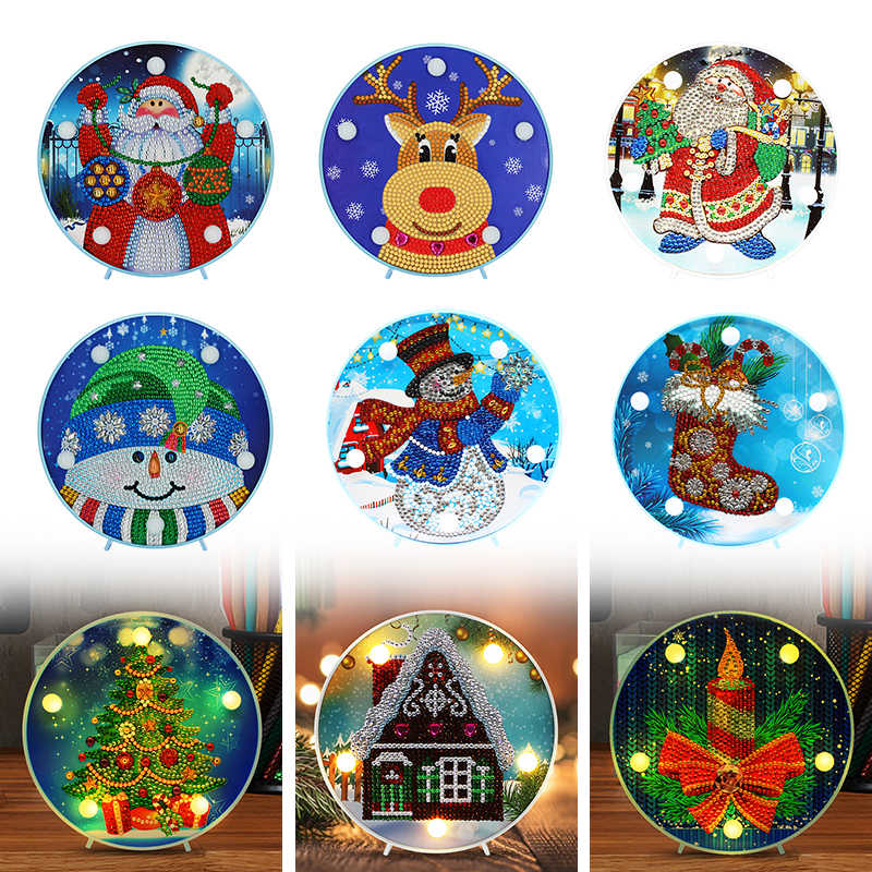 DIY Special Shaped Diamond Painting LED Night Lamp Christmas Elk Snowman Ornament Table Desk Night Lights for Kids Bedroom
