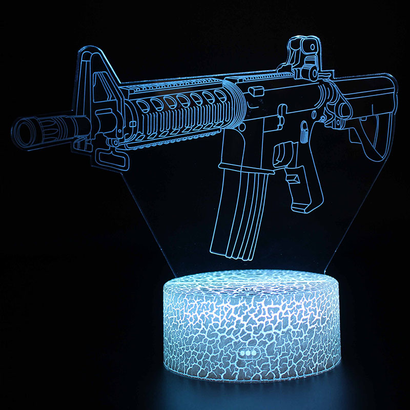 Guns Model 3D Illusion Lamp Room Decoration Night Lights Rifle Revolver Pattern Table Lamps Perfect Christmas Gifts