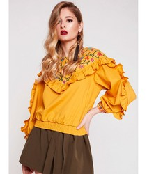 BLOUSE WITH EMBROIDERY AND RUFFLES