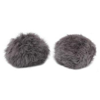 Pompon Made Of Natural Fur (rabbit), D-10cm, 2 Pcs/pack (H. Gray)