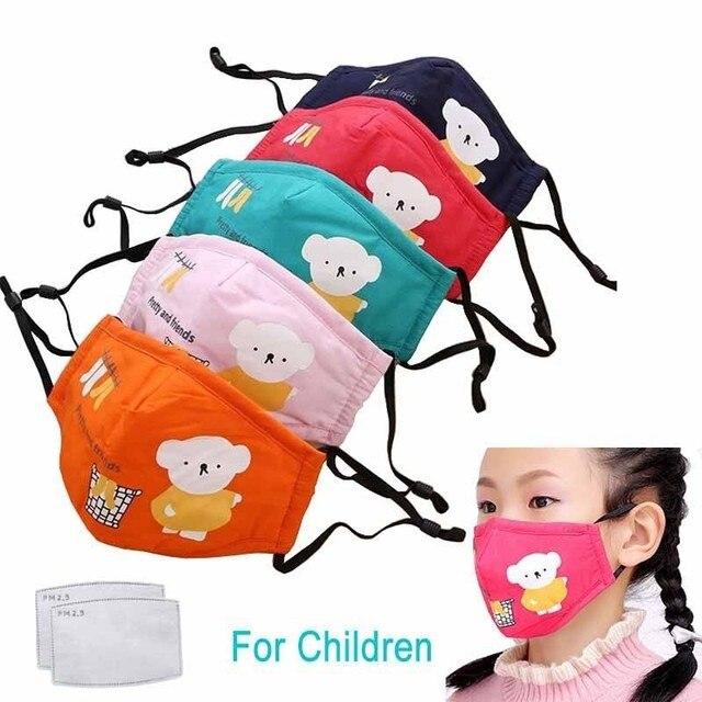 1PCS PM2.5 Activated Carbon Face Mouth Masks Reusable Breathable Cotton Protective Children Cartoon Cute Anti-flu Anti-fog Mask
