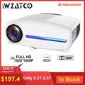 WZATCO C2 1920*1080P Full HD светодиодный проектор с 4D цифровой Keystone 6800 люмен Домашний кинотеатр портативный hdmi проектор LED Proyector
