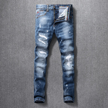 Italian Style Fashion Men Jeans High Quality Retro Blue Ripped Denim Long Trousers Elastic Slim Fit Vintage Designer Pants Homme
