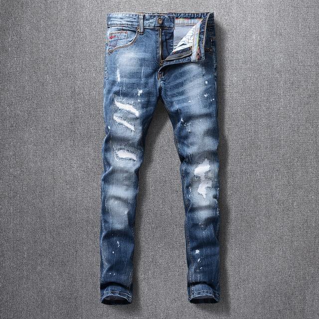 Italian Style Fashion Men Jeans High Quality Retro Blue Ripped Denim Long Trousers Elastic Slim Fit Vintage Designer Pants Homme