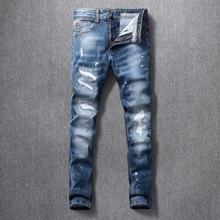 Włoski styl modne dżinsy męskie wysokiej jakości niebieskie w stylu Retro zgrywanie Denim długie spodnie elastyczne spodnie Slim Fit Vintage Designer Homme
