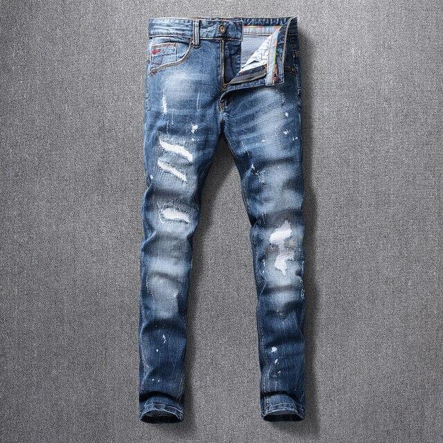 İtalyan tarzı moda erkek kot yüksek kaliteli Retro mavi yırtık kot uzun pantolon elastik Slim Fit Vintage tasarımcı pantolon Homme