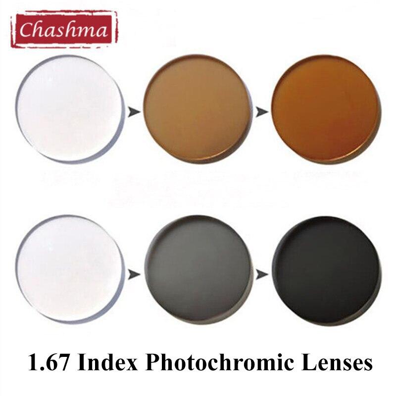 Chashma marque UV 400 réfléchissant 1.67 indice teinte lunettes de soleil Prescription lentille pour les yeux minces lentilles photochromiques lentilles de Transition