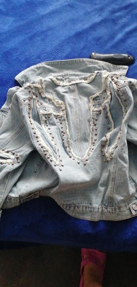 Spring Beading Rivets Denim Jacket Women Plus Size Coat Hole Patch Jeans Jacket Women Harajuku Jacket High Street Outwear
