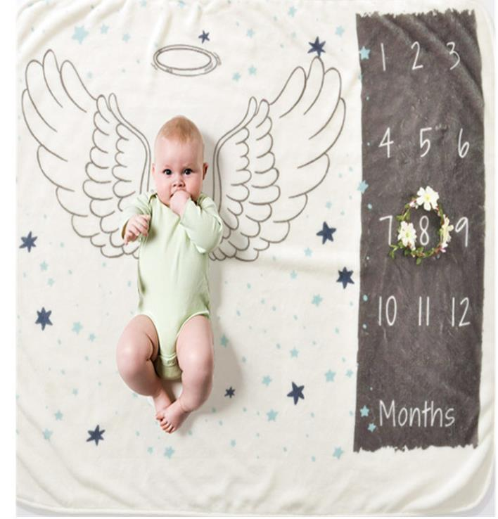 Baby Milestone Blankets Newborns Growth Memorial Stuff Cartoon Print Photography Monthly Background Cloth Babies Gifts Souvenirs