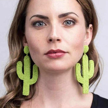 FLOLA Boho Beaded Cactus Earring Girls Handmade Seed Bead Plant Statement Western Jewelry aretes de cactus ersr16