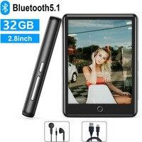 Ruizu-reproductor MP4 de 32GB con Bluetooth 5,1, pantalla completamente táctil de 2,8 pulgadas, altavoz incorporado con radio FM, grabadora, soporte para tarjeta SD