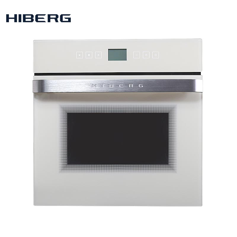 Электрический духовой шкаф с конвекцией HIBERG VM 6495W, стекло(сенсорный дисплей, 9 функций, 56л, гриль, телескопы - Цвет: Белое стекло