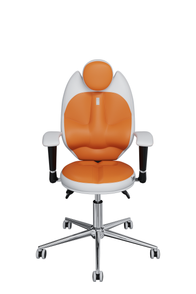 Chair Office KULIK SYSTEM KIDS White + Orange For Children/teenagers Computer Эргономичное 5 Zones Control Spine