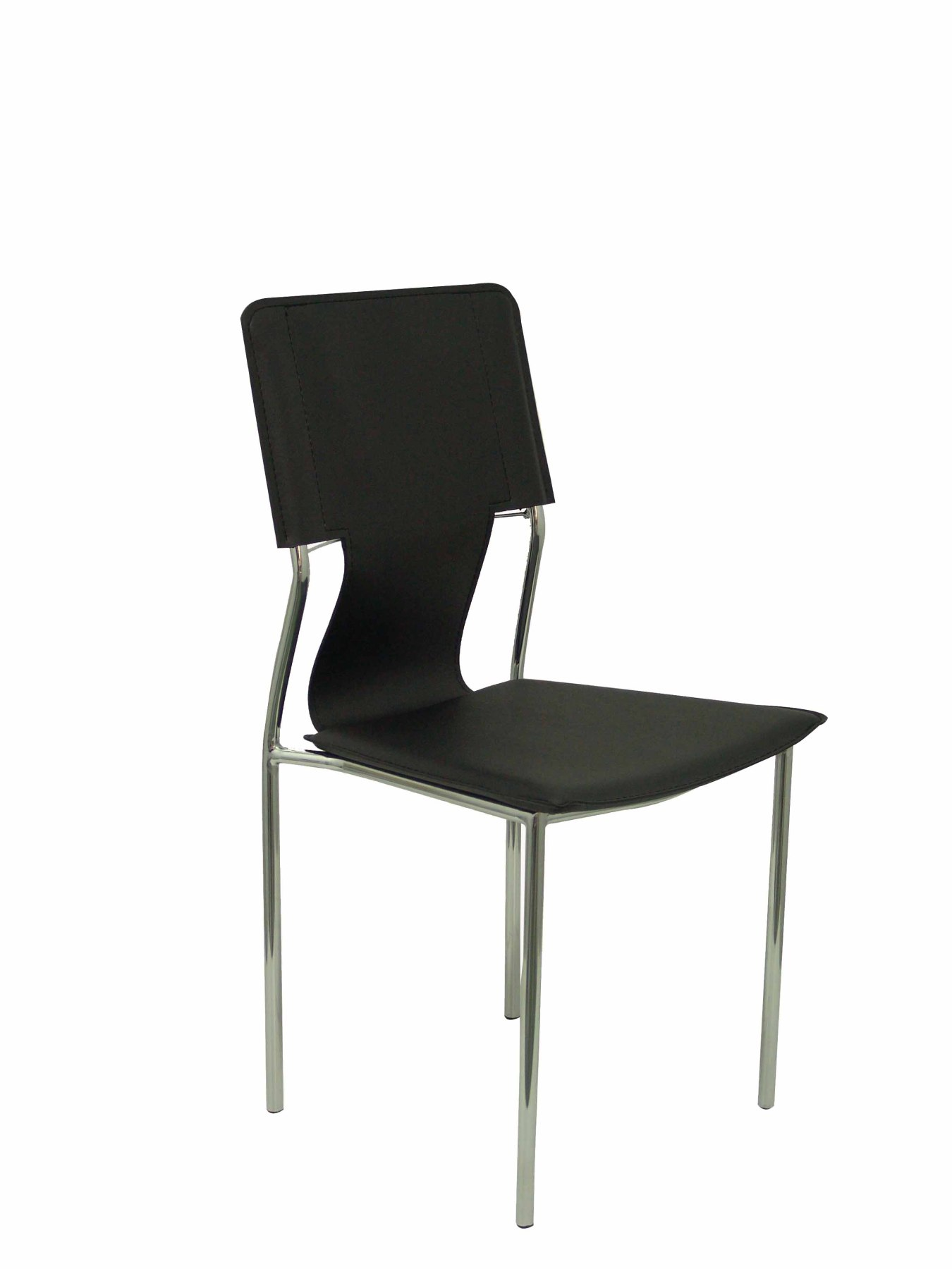 Pack 4 Chairs Confident Of 4 Legs With Estructrua Chrome Seat And Back Upholstered In Similpiel Color Black PIQU