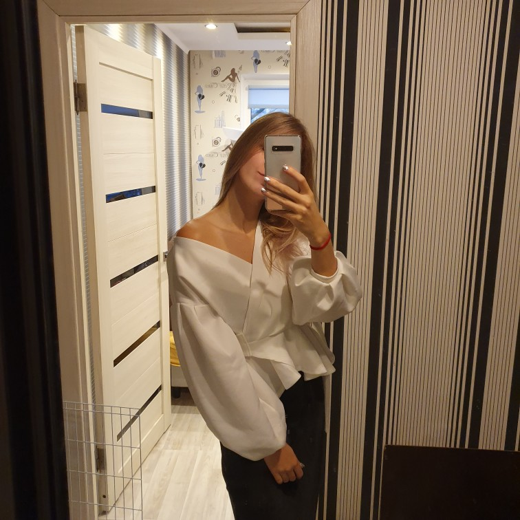 White Office Lady Elegant Lantern Sleeve Surplice Peplum Off The Shoulder Solid Blouse Autumn Sexy Women Tops And Blouses photo review