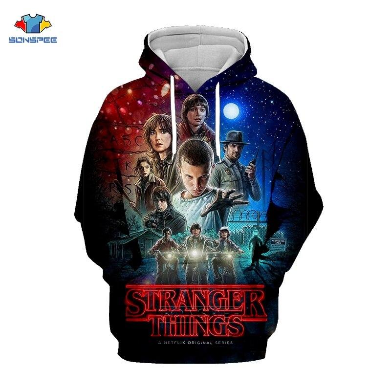 Stranger Things Sweatshirt TV Show Mens 3D Print Clothes Stranger Things Hoodie Sudaderas Fashion Hooded Free Shipping Pull G24