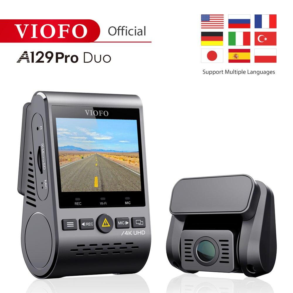 4 k duplo traço cam viofo a129 pro duo 3840*2160 p ultra hd 4 k câmera do traço sony 8mp sensor gps wi-fi frente traseira dvr carro cam g-sensor