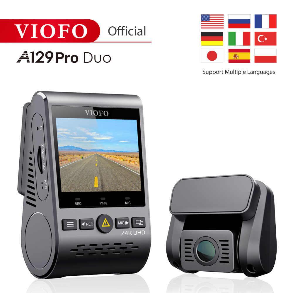 4 k dvr duplo traço cam viofo a129 pro duo 3840*2160 p ultra hd 4 k câmera traseira frontal do traço sony 8mp sensor gps wi-fi carro cam g-sensor