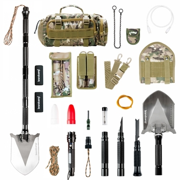 Multi-Function Folding Shovel Brandcamp L5 For Camping, Hunting, Fishing, Tactical, Engineering With Carrying Bag