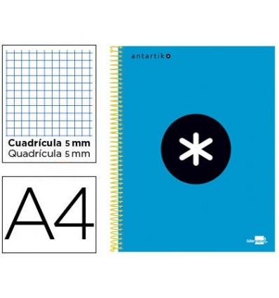 SPIRAL NOTEBOOK LEADERPAPER A4 MICRO ANTARTIK LINED TOP 120H 100 GR CUADRO5MM 5 BANDS 4 HOLES BLUE COLOR