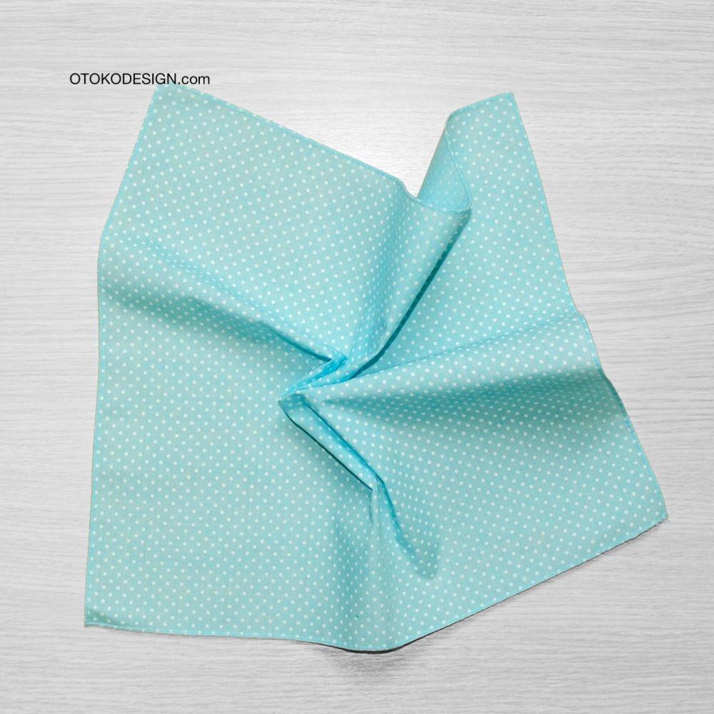 Pocket Square In A Jacket Pocket Blue White Polka Dot (51821)