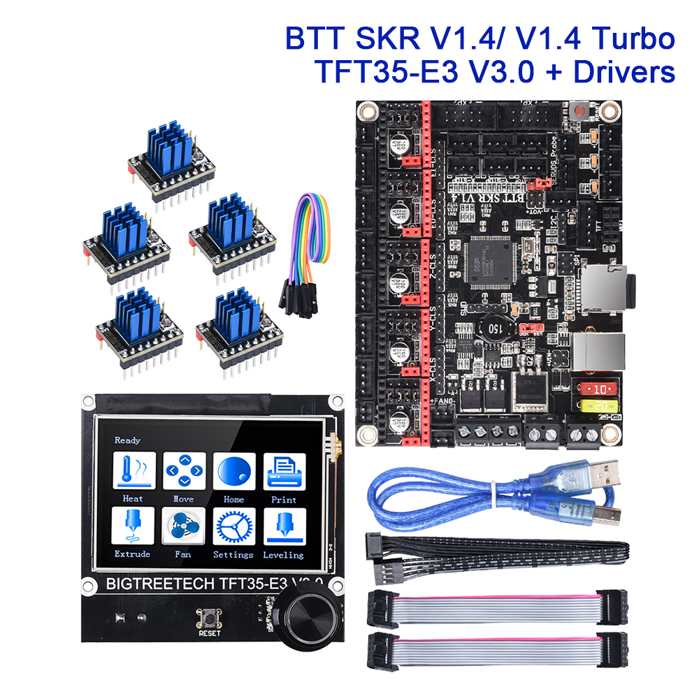 BIGTREETECH SKR V1.4 / V1.4 Turbo 3D Printer Control Board + TFT35-E3 V3.0 Touch Screen Drivers TMC2209 TMC2208 UART Update V1.3 image