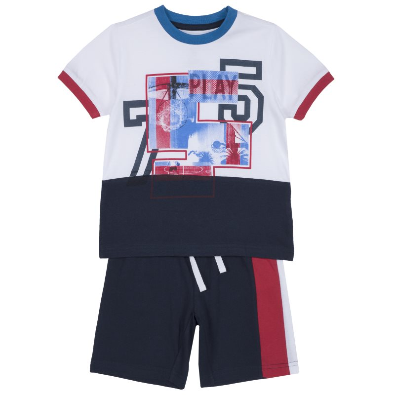 Фото - Set T shirt and shorts Chicco, size 098, color dark blue shoes velcro genuine leather chicco size 200 color blue and red