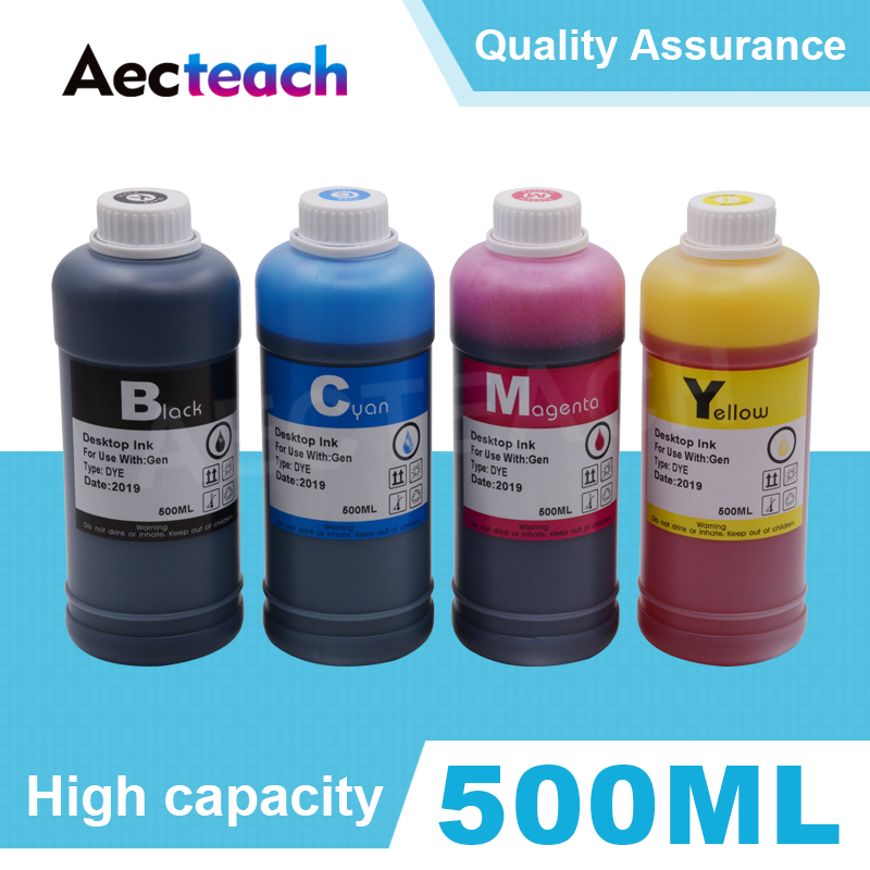 Aecteach 500ml Bottle Dye Printer Ink Refill Kits 4 Color For HP For Canon Printers For Epson For Brother Ink Cartridges