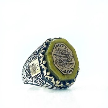 Amber Star Of David Solomon Seal Silver Men 'S Ring