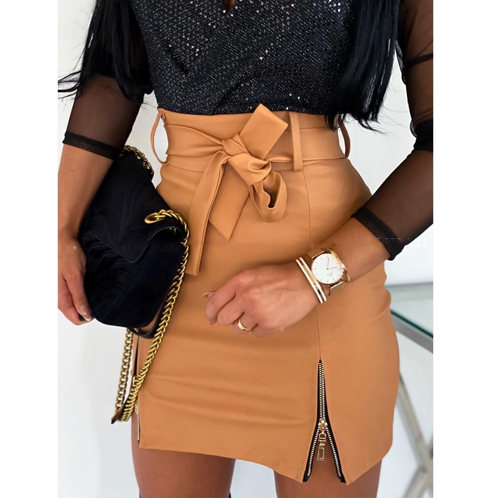 Fashion Sexy High Waist PU Leather Women Elegant Skirts Sashes Zipper Pencil Mini Length Spring Autumn Winter White Black Khaki 1