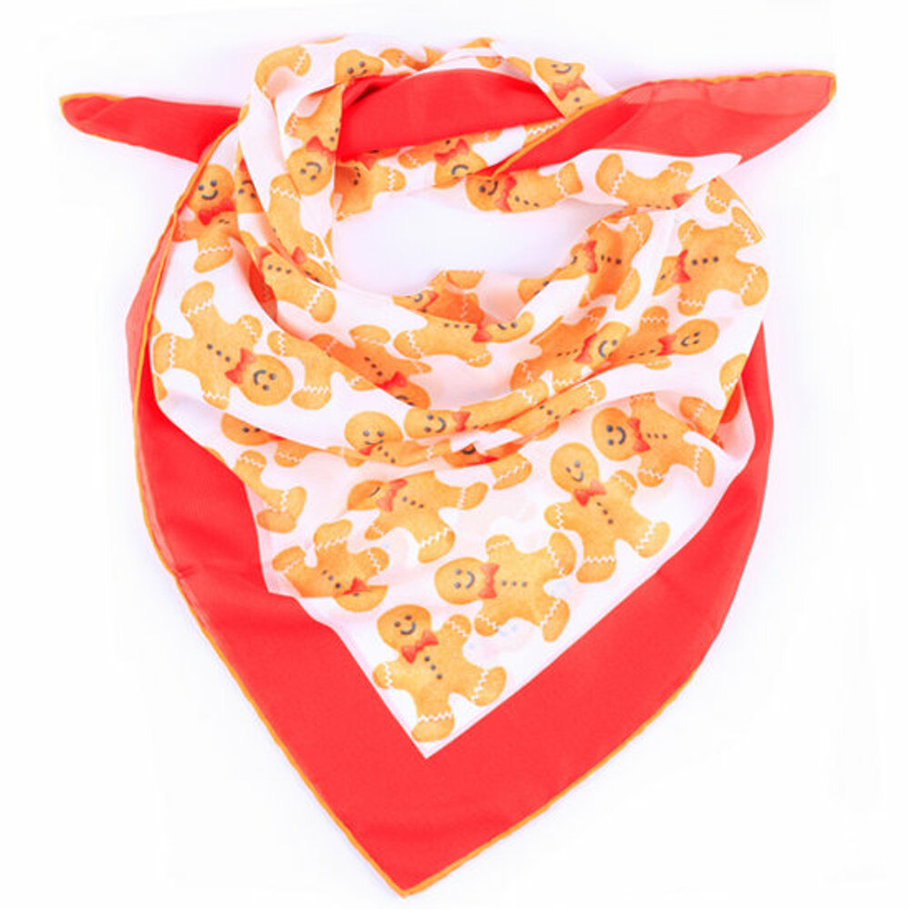 Biggdesign Cookie Man Scarf, Custom Woven Fabric, Special Design, 90x90 Cm, Soft And Comfortable Woven,