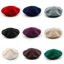 Zarif kadın yün keçe bere sıcak fransız klasik bere Slouch bask katı renk Lady moda sanatçı şapka kap Tam çok renkler