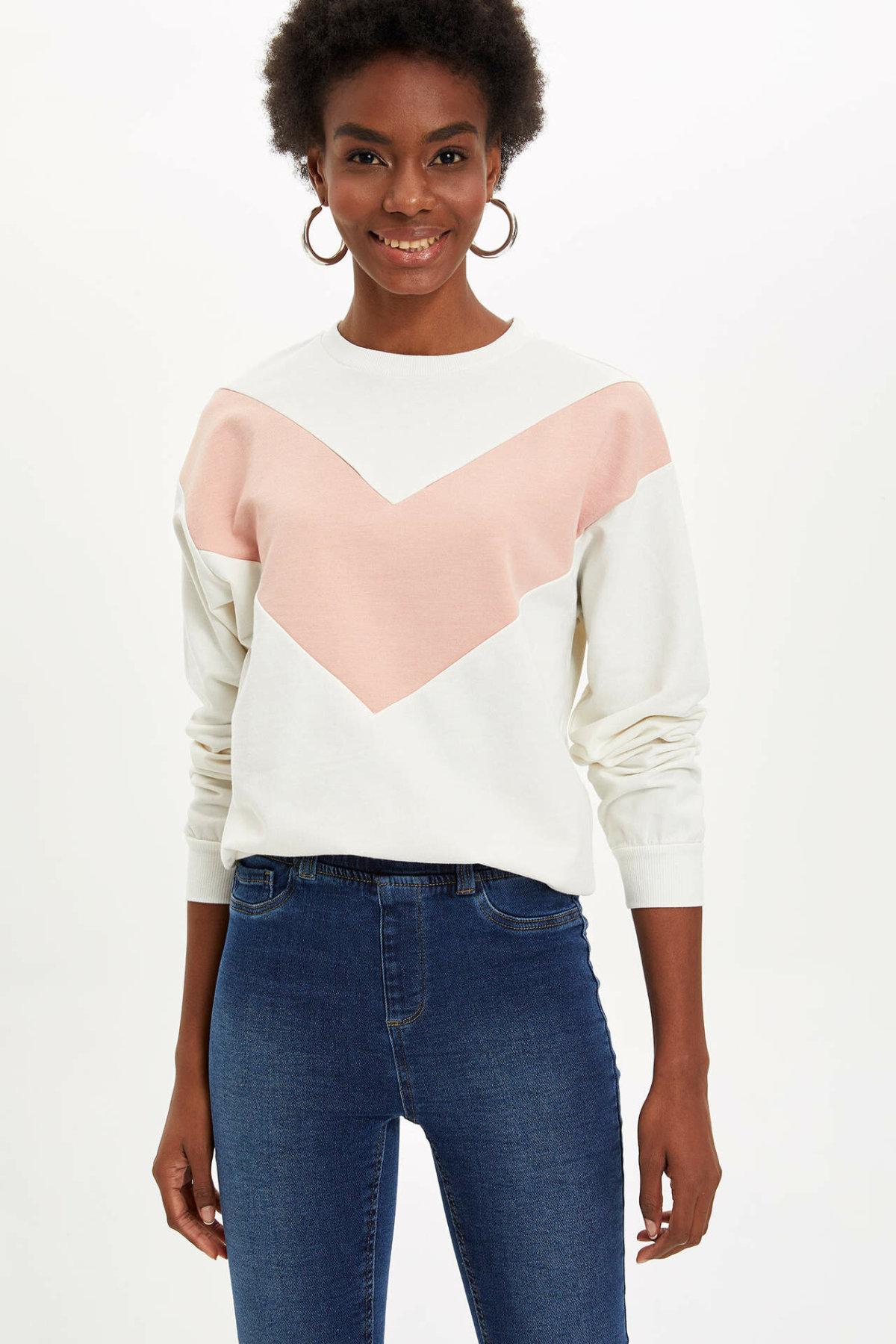 DeFacto Women Crewneck V-pattern Pullovers Ladies Fashion Casual Harajuku Loose Pullover Female Comfort Tops Autumn -M5400AZ19WN