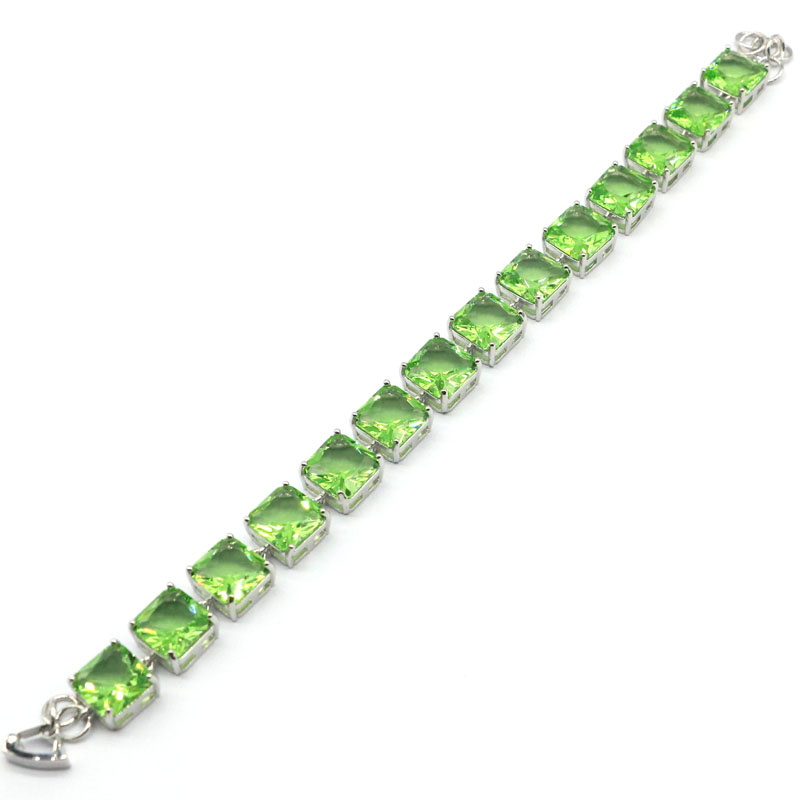 14x10mm Deluxe Created 10mm 25g Green Tsavorite Garnet Woman's Party Silver Bracelet 8.0-9.0inch