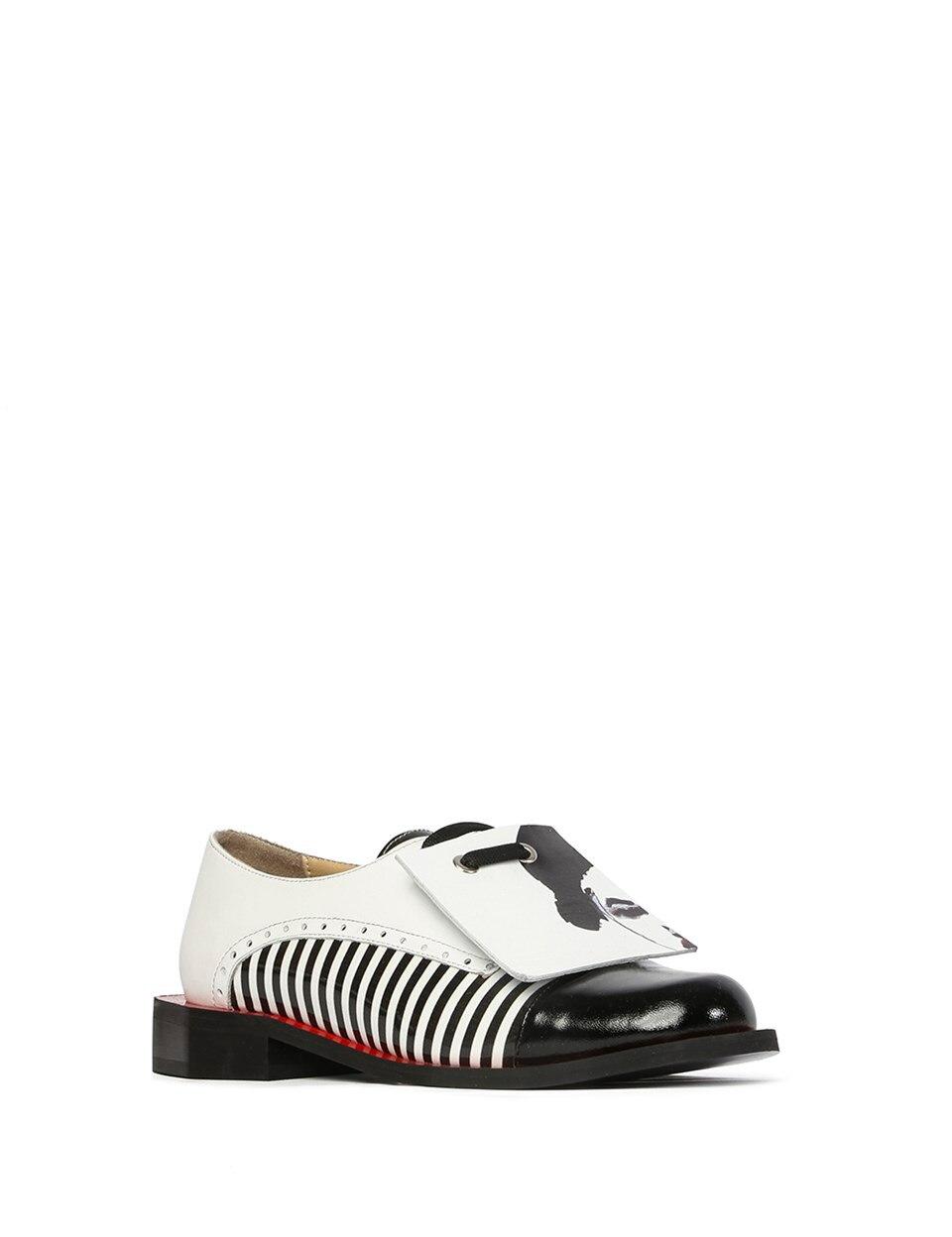 ILVi-Handmade Genuine Leather Boss Women's Oxford Black White 2020 Women Shoes for Spring Summer
