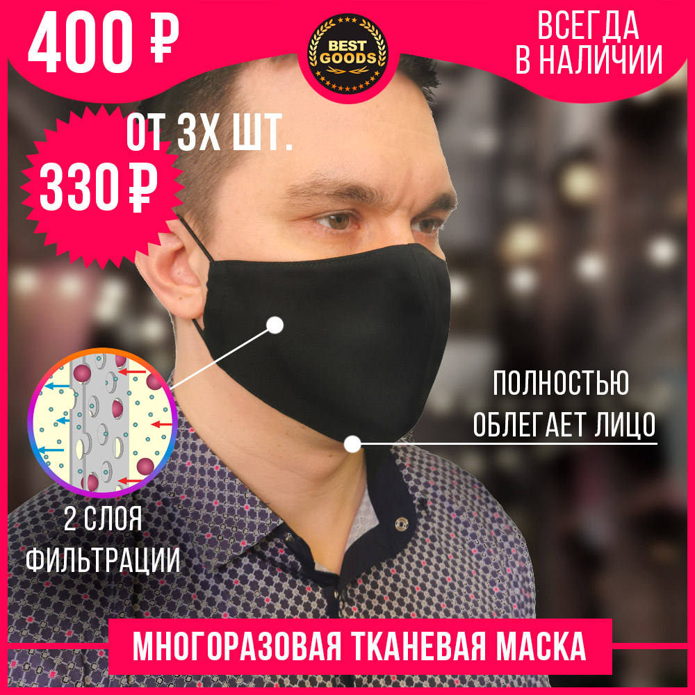 Protective Mask Cloth Removable Filter For Mouth And Nose (free Application Of Your Logo When You Order From 1000 PCs)