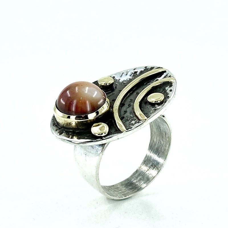 Natural Coral Stone Production Authentic Special Silver Ring