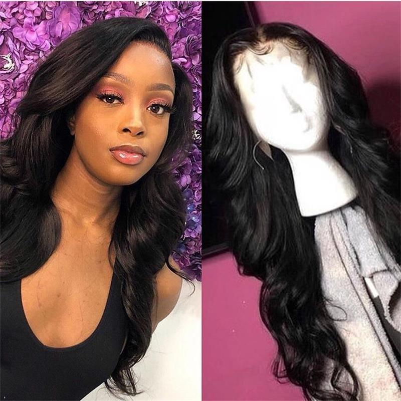 Brazilian Non-Remy Hair Lace Front Human Hair Wigs Baby Hair Pre-Plucked Wavy Human Hair Wigs