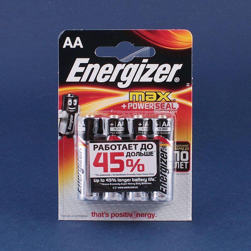 Батарейки AA пальчиковые Energizer MAX+Power Seal, 1.5 В, щелочные LR6 упаковка 4 штуки Батарейки      АлиЭкспресс