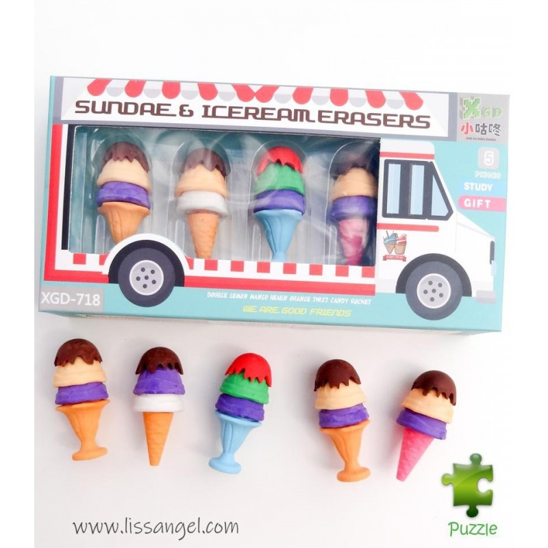 Box With 5 Ice Cream Erasers