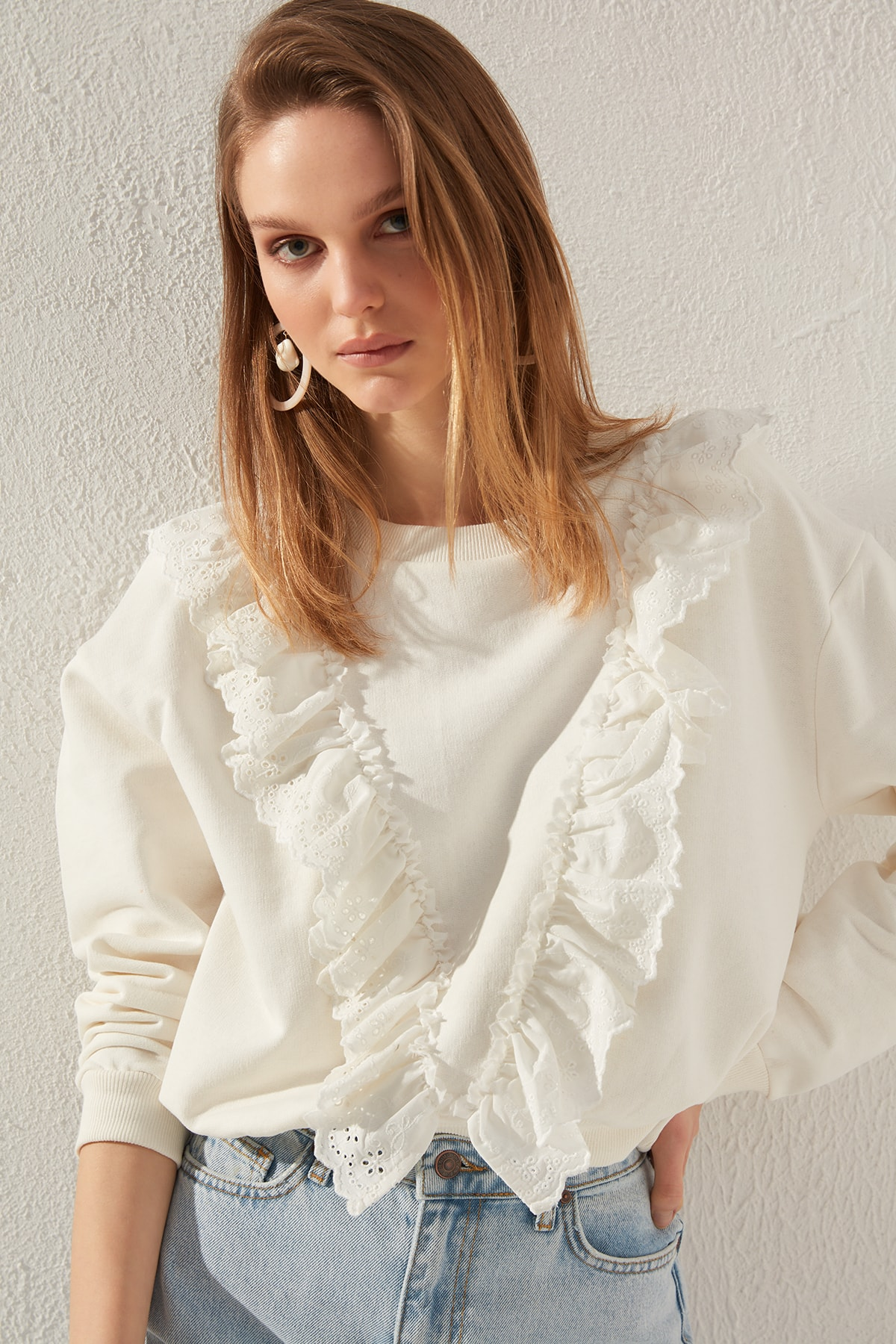 Trendyol Ruffle Detail Basic Knitted Sweatshirt TWOSS20SW0144