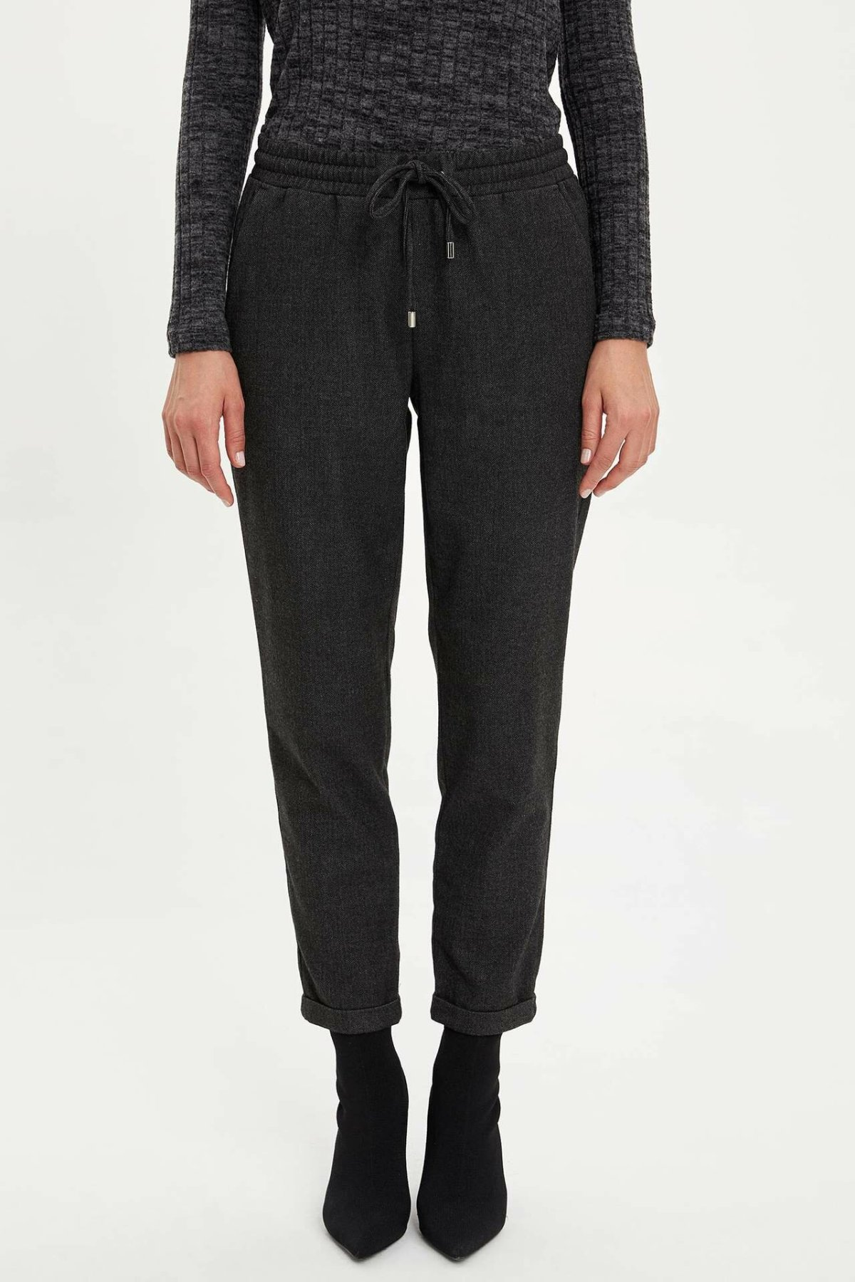 DeFacto New Woman Fashion  Drawstring Trousers Ladies Casual High Quality Crop Pants Female Bottoms Autumn - M4557AZ19WN