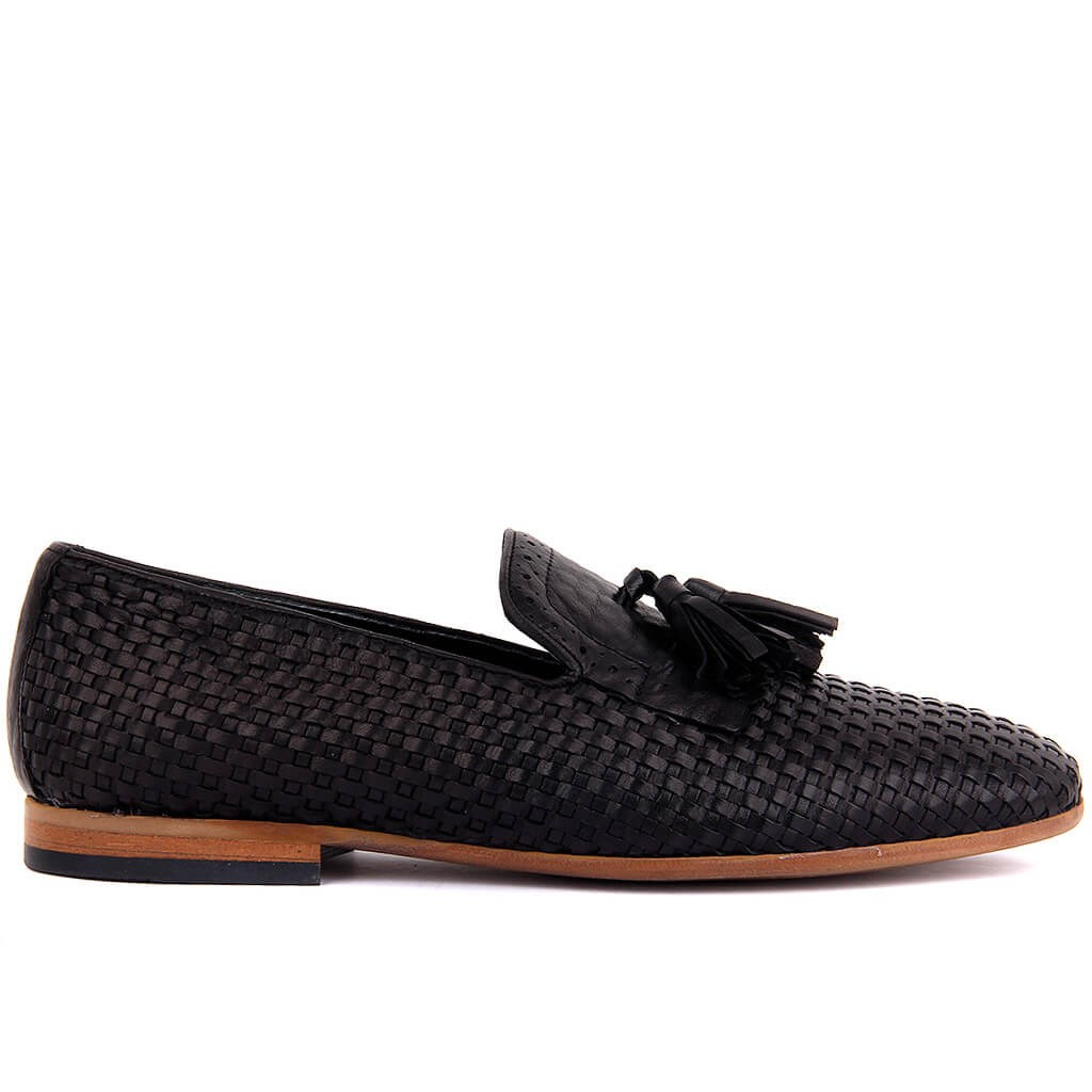 Sail-Lakers Black Genuine Leather Men 'S Shoes