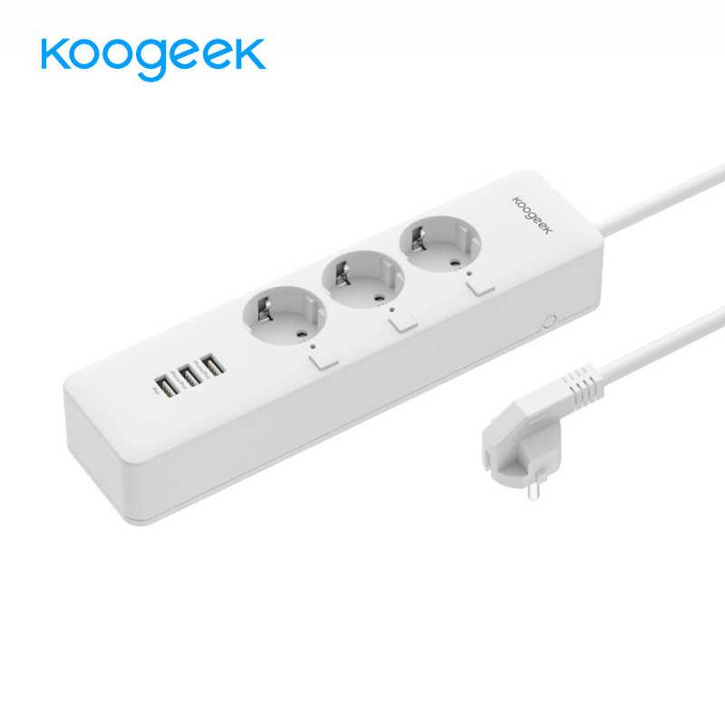 Koogeek WiFi Thông Minh Ổ Cắm Chống Sét Bảo Vệ Riêng Điều Khiển 3 ổ cắm Dán Cường Lực cho Apple HomeKit Alexa Google Trợ Lý